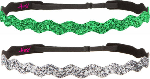 Hipsy Adjustable No Slip Wave Bling Glitter Headbands for Women /& Girls 2Pk