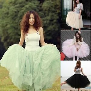 Stylish-Hot-Womens-5-Layers-Tutu-Princess-Skirt-Petticoat-Knee-Length-Mini-Dress