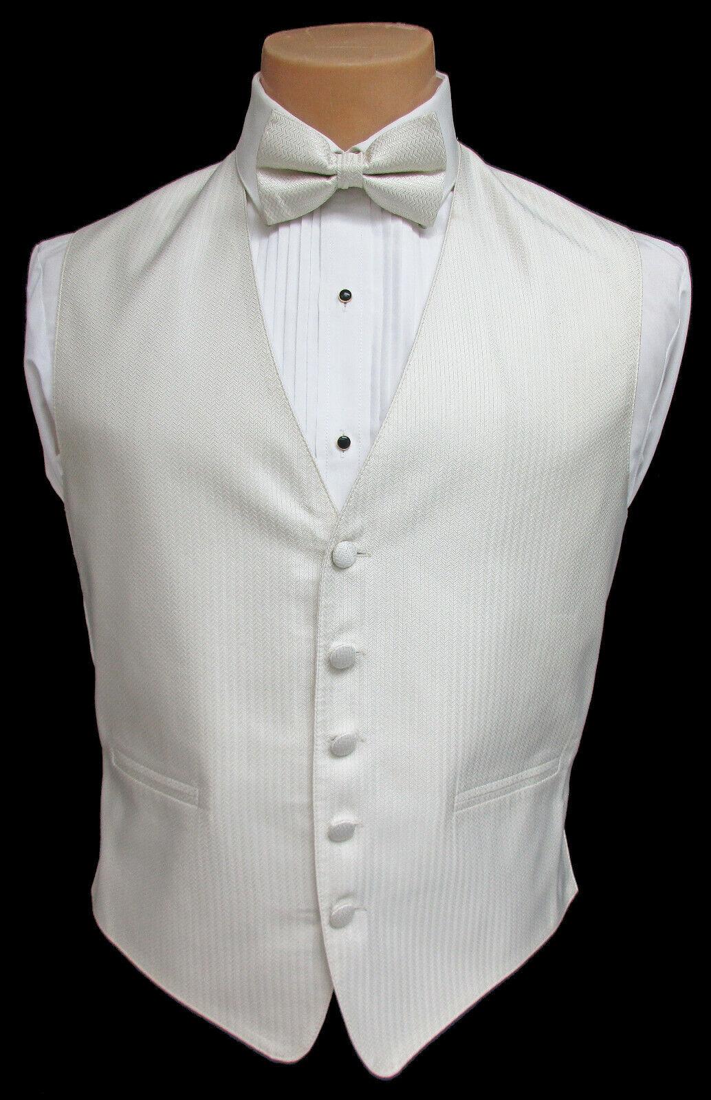 Men's Ivory Herringbone Fullback Tuxedo Vest and Tie Set Wedding Cruise Prom