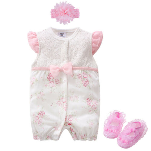 Newborn baby girls daily party bodysuit+headband+shoes baby playsuit shower gift