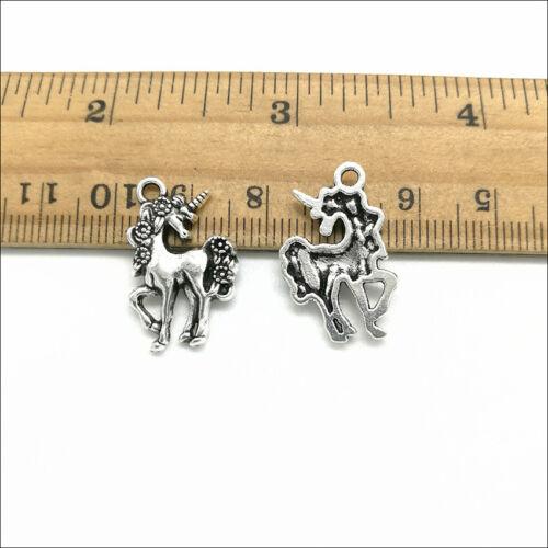 Lot 50pcs unicorn horse antique silver charms pendants jewelry DIY 23*14mm