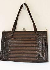 SALE Vintage Brown Mock Alligator Crocodile Leather Lady Bag Frame Purse Handbag