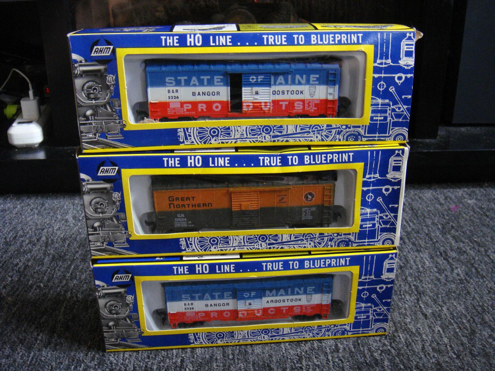 Vintage - Three AHM HO Train Box Cars & New In Box