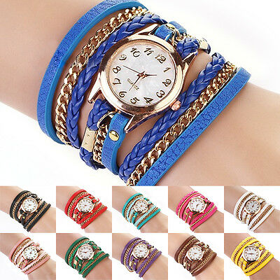 Women's Gorgeous Stylish Vintage Weave Wrap Rivet Leather Bracelet Wrist Watch