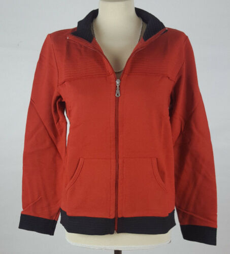 Sweatshirt Jacke terracotta orange schwarz Gr 36 38  S Baumwolle 427 neu
