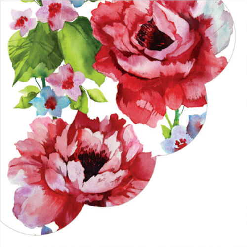 Decoupage Craft Paper Round Napkins 24 pcs ∅12.6″ Red Watercolor Roses