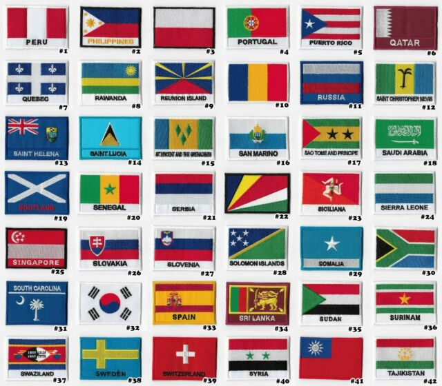 ST.LUCIA SIDEKICK WORD COUNTRY FLAG IRON-ON PATCH CREST BADGE 1.5 X 4.5 IN.
