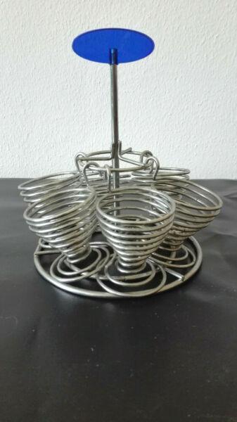 6 -teiliges Set Eierbecher Metall Mit Ständer Warscheinlich 80er Jahre Fabriken Und Minen