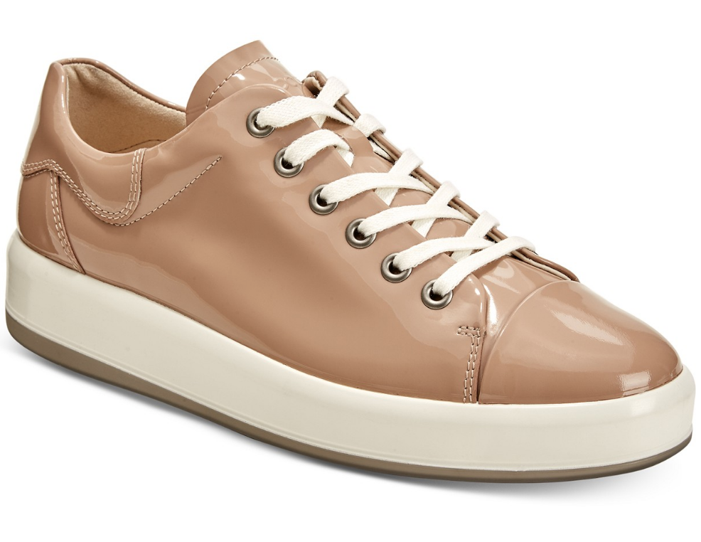 Ecco Womens Soft 9 Lace Up Patent Leather Ginger Sneaker Sz 41 EUR 1035
