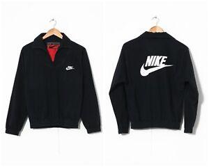 90s-Vintage-Mens-NIKE-Pullover-Cotton-Jacket-Black-Size-XS