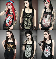 Womens Ladies T Shirt Tank Top Gothic Punk Rock Party Cosplay Cami Vest One Size