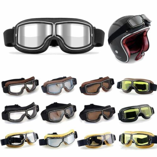 Motorcycle Leather Eyewear Vintage Goggles Aviator Pilot Glasses Retro Helmet