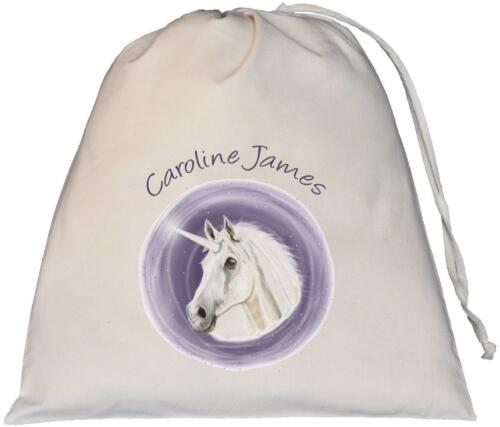 Unicorn CircleDesign Large Natural Cotton Drawstring Bag PE Kit Personalised