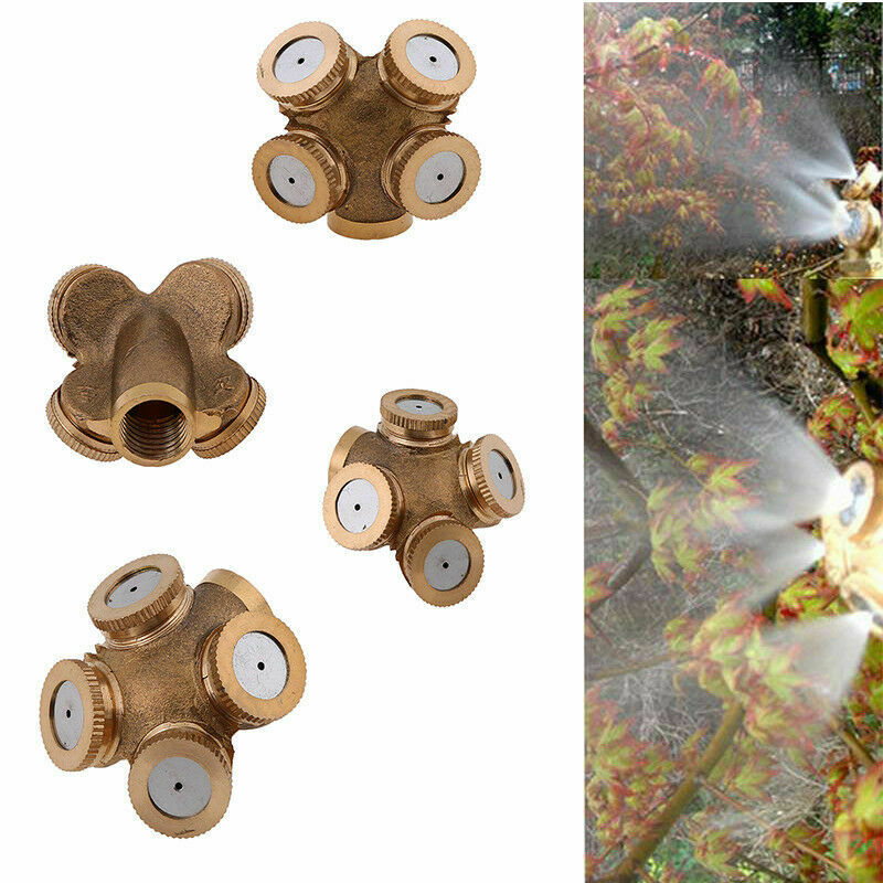 Gold 1//2//3//4Hole Brass Hose Pipe Fitting Garden Tap Spray Nozzle Mist Cooling