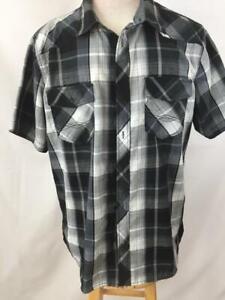 Rock-amp-Republic-mens-shirt-size-M-medium-black-white-plaid-short-sleeve-2-pocket