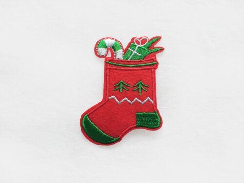 Christmas Iron On PATCH selection Snowman Tree Santa Claus Stocking Sugar Cane
