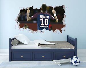 neymar jr psg wall hole 3d decal vinyl sticker decor room smashed dg005 ebay. Black Bedroom Furniture Sets. Home Design Ideas