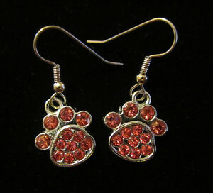 Paw-Print-Earrings-Pink-Crystal-Dog-Cat-Hypoallergenic