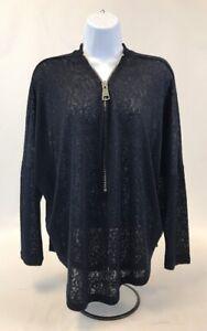 Chelsea-amp-Theodore-Women-039-s-Blue-Long-Sleeve-3-4-Zip-Sheer-Pullover-Sweater-Sz-M