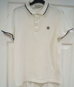free shipping 42d85 d8b2a Details zu MONCLER Menswear White 100% Cotton Branded Short Sleeve Polo  T-Shirt Tee Top S