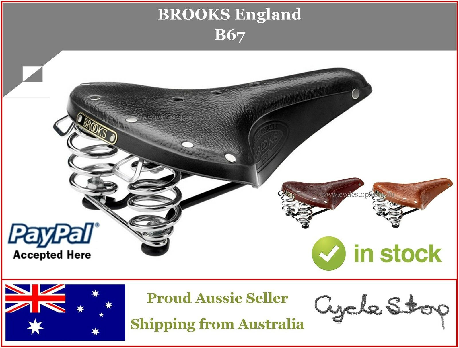 LEATHER BIKE SADDLES - SPRUNG -  BROOKS ENGLAND - B67 LEATHER BICYCLE SEAT  online shopping sports