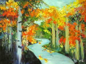 Original-Oil-Painting-Autumn-Path-18-x-24-034-Julia-Lu