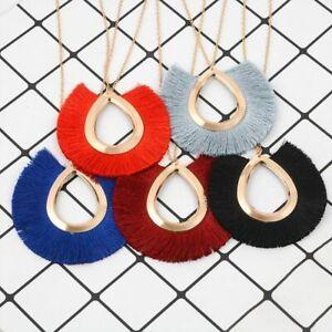 Women-Round-Bohemian-Necklace-Summer-Fashion-Collar-Long-Fringe-Tassel-Pendant