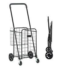 Folding Shopping Cart Utility Trolley Jumbo Basket Grocery Laundry Travel Black