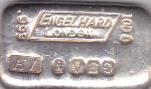 Engelhard London 1969 Poured 100 Gram .999 Silver Bar