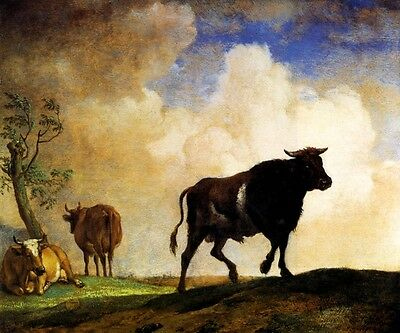 THE BULL 1649 FARM SCENE CATLLE BAROQUE PAINTING BY PAULUS POTTER REPRO
