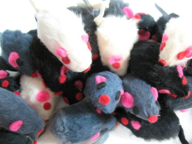 10 ZANIES FURRY MICE, cat toy kitten toys REAL FUR MICE