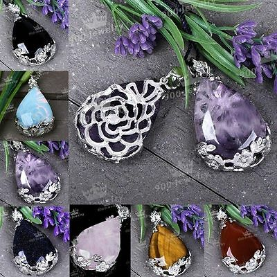 Chic Gem Crystal Natural Gemstone Healing Point Chakra Pendant Bead For Necklace
