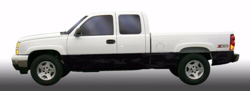 Black traditional camo Rocker Panel Graphic Decal Wrap Kit Truck SUV