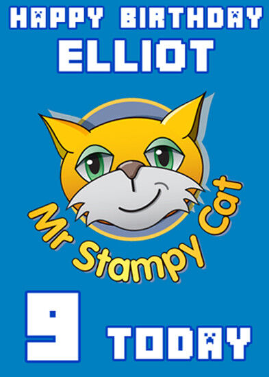 Stampy Cat Minecraft Blue Personalised Birthday Card Add Your Own