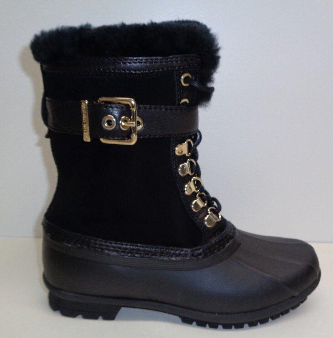 Antonio Melani Size 6 M LAWSYS Black Leather Fur Duck Boots New Womens Shoes