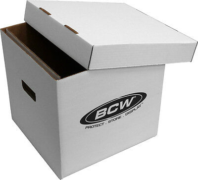 "(2) BCW BX-33RPM-BOX 12"" Vinyl LP Record 65 Count White Storage Boxes Laser Disc"