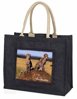 zwei Geparden  Soulmates  große schwarze Einkaufstasche