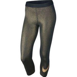 Femmes Nike Pro Training Capris-s (uk 10) En Noir & Doré Métallisé. Rrp £ 60-afficher Le Titre D'origine
