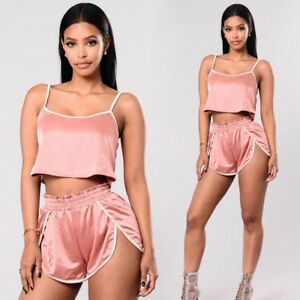 a9d8120ad57 Women Summer Sexy Two Piece Set Crop Top +Pants Casual Outfit Shorts ...