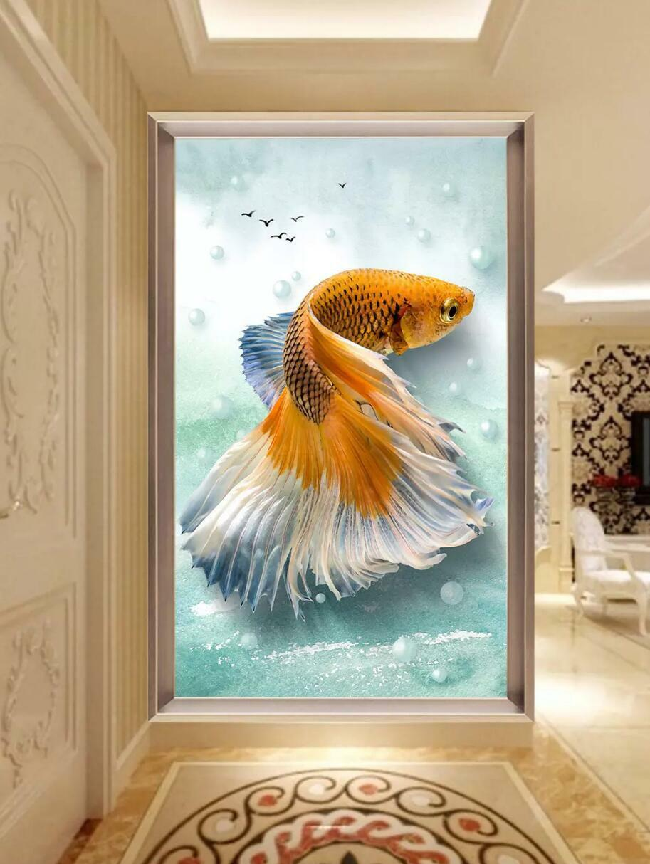 3D goldfish bluee 882 Wall Paper Exclusive MXY Wallpaper Mural Decal Indoor Wall