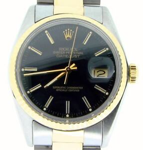 Rolex-Datejust-Mens-2Tone-Yellow-Gold-amp-Stainless-Steel-Watch-Black-Dial-16013