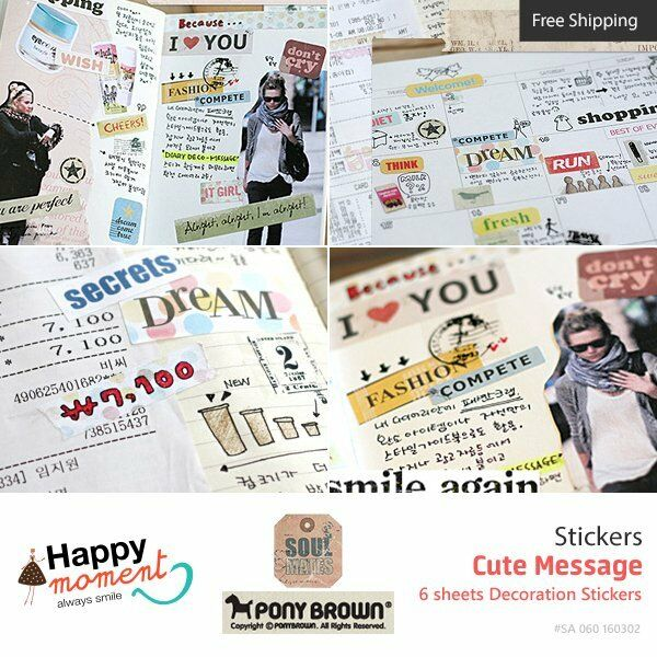 Cute Message Stickers Diary Planner Scrapbooking Decoration Stickers 6 sheets