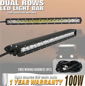 100w-21-22inch-Individual-Fila-LED-CREE-barra-de-luz-CABLEADO-Harnes-UTE-4x4wd