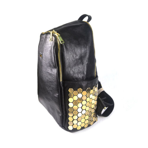 negro Students Mochilas y Hombro School Gril Mujer Casual Leather dorado T0qZnE