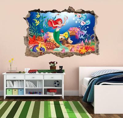 The Little Mermaid 3D Hole Wall Sticker Decal Mural Disney Princess Ariel J476