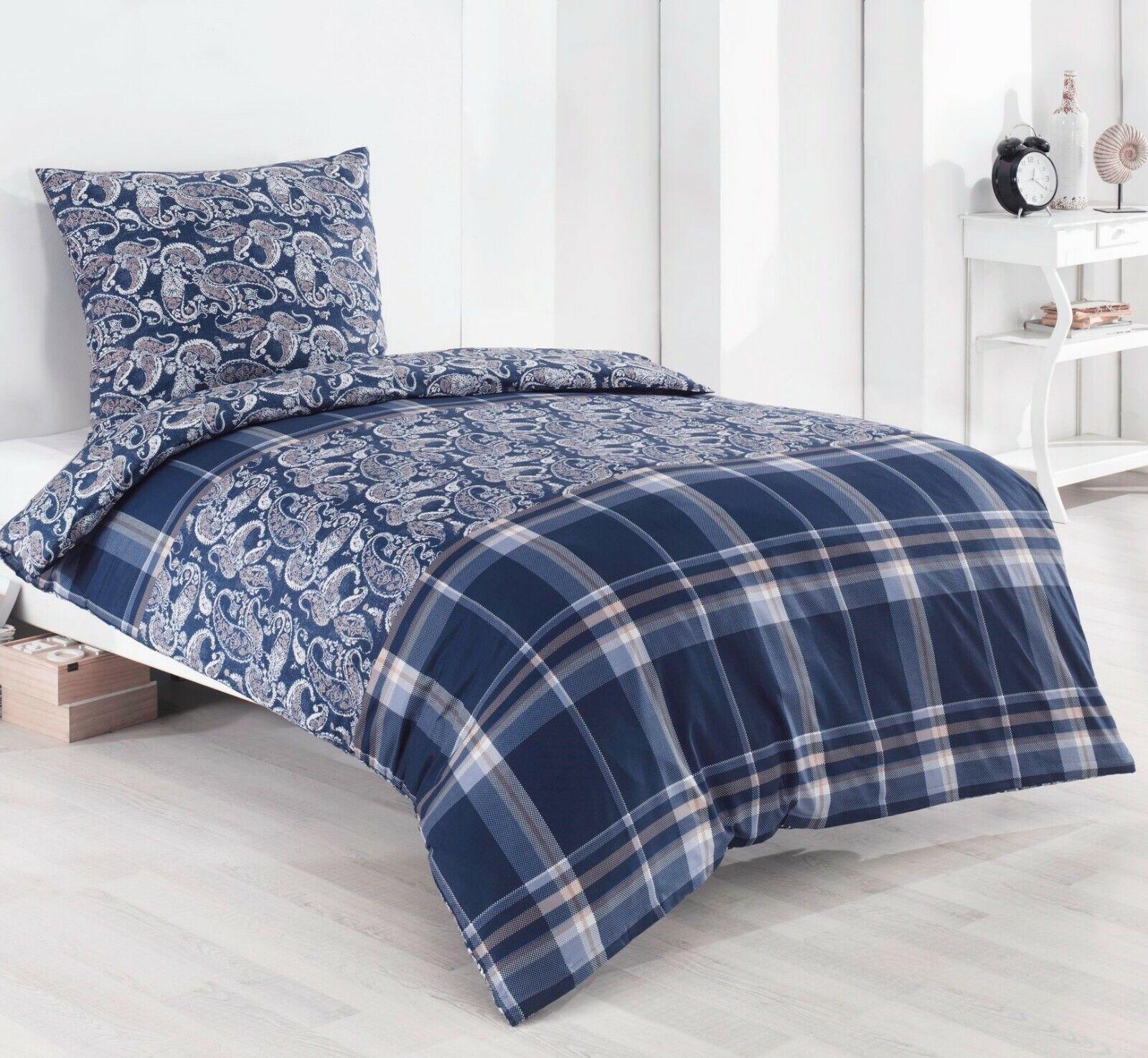 4 Tlg Bettwäsche 100 Baumwolle 135x200 Blau Karo Neu Qualitätsware