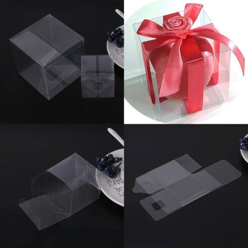 10Pcs en Plastique PVC Transparent Cube Gâteau Mariage Faveurs Cadeau Bonbons Boîtes Sac de Fête