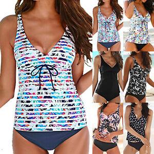 Women-V-Neck-Tankini-Bikini-Sets-Padded-Shorts-Beach-Swimsuit-Swimwear-Costume