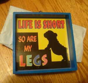 New-5-034-x-5-034-Box-framed-034-Life-is-Short-So-Are-My-Legs-034-French-Bulldog-picture-New