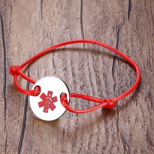 Sauver la vie Medical Alert Tag Femmes Enfant Bracelet Gourmette Tressé Rouge String Cord